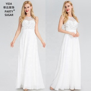 2019 Evening Dress Long Gown Ladies White Bridesmaid Dresses for Girls