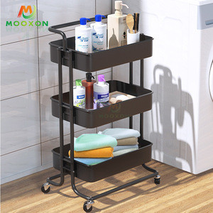 3-Tier Rolling Utility Cart Metal Organization Storage Hand Cart Moveable Home Trolley
