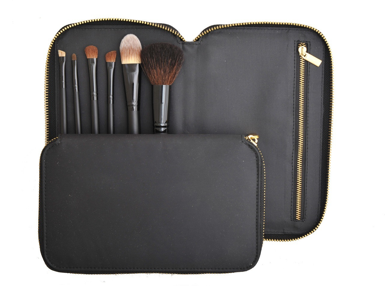 6PCS Makeup Brushes with Natural Hair and Zipper Pouch