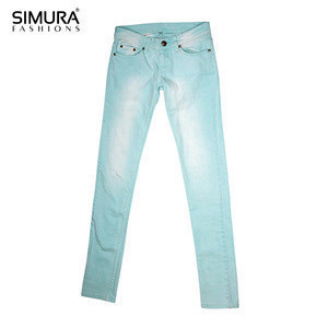 98% Cotton 2% Spandex Ocean Blue Exclusive  Color Fade Proof Distressed Washed Pant Jeans Man