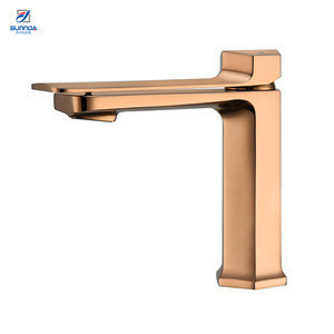 China Cheap Rose Gold Plated Sanitary Ware Bathroom Taps Single Handle Bath Sink Basin Faucet