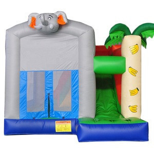 Customize various color small elephant home inflatable jumping bouncer with water slide for kids