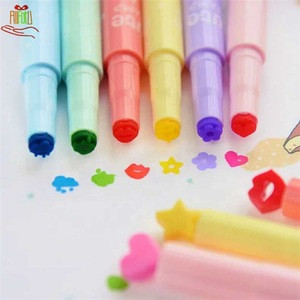 Cute Writing Supplies Highlither DIY Kawaii Highlither Pen Color Marker Pen With Stamps For Kids Gift