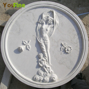Hand carved nude woman marble wall relief