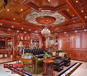 Luxury French designs solid teak wood veneer ceiling panels craved wood ceiling panels