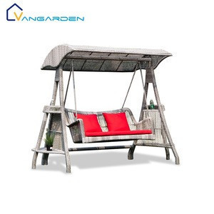 Luxury Patio Adult Double Wicker Swing Garden Chair with Canopy