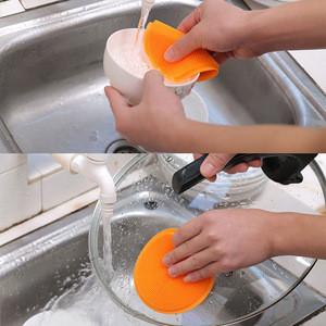 Round Kitchen Silicone Dish Washing Sponge Fruit Vegetable Cleaning Dishwashing Brush