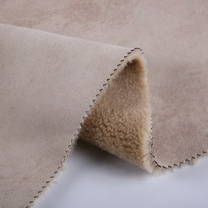 Sherpa fur wool polyester fabric foiled suede bonded faux fur fabric for coat