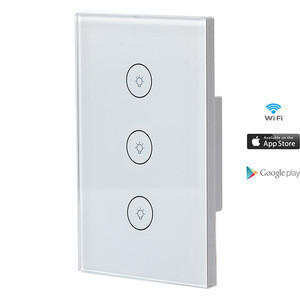 Smart Home Wifi Eu Touch Switch 120*120 3 Gang Glass Pc Material Panel Smart Switch