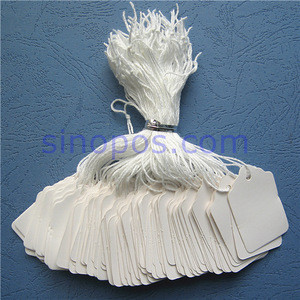 Strung White Merchandise Price Tags, blank scalloped edge paper ticket with string garment hangtag prestrung label tally tag