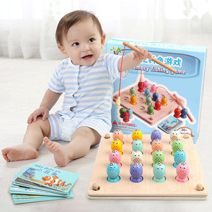 Wholesale magnetic fishing wooden toy color box wooden magnetic fishing toy and fishing wooden toys