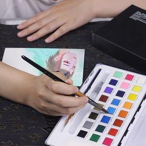 AAAAA Grade 12 Pcs Nylon Paint Brush Metal Tin Set Kit Including Free Pencil & Sponge for Acrylic, Oil, Watercolor Paint