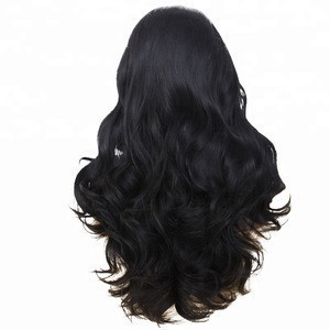 Anogol Brazilian Hair Wigs Body Wave Black Synthetic Lace Front Wig
