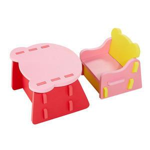 Custom Cartoon Eva foam DIY Educational Puzzle Bear Chair and Desk Furniture Toys for kids