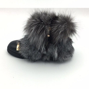 Factory price fashion flat women raccoon fur ankle boots girls