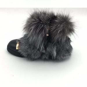 Factory price fashion flat women raccoon fur ankle boots girls