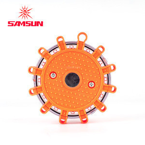 Factory supply Emergency Roadside Safety Flashing light pie dot Disc Traffic Warning Light With Magnetic Base