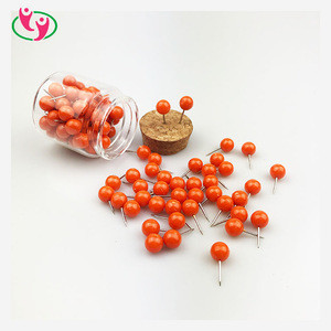For Home School and Office Cork Bulletin Board Orange Color Plastic Round Head Stainless Needle Push Pins