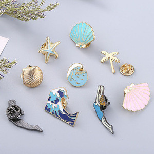 Hat Backpack Accessories Cute Series Insignia Starfish Scallops Beach Metal Pins Magnetic Badge Magnet
