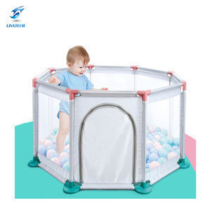 Linxtech Wholesale safety detachable Octagon lightweight baby walker play game sleeping fold easy to carry baby playpen