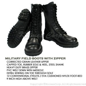 Military Combat Boots with Zipper
