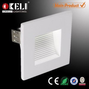 Modern Indoor home fancy 1.2w Foot Lamp Square 95*95 mm Recessed led step lights Matt white SMD Stair Wall luminaire
