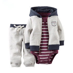 New Arrival Model 3pack Love Baby Clothes Set Romper Pants With Baby Jacket