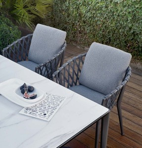 Rope woven aluminum frame outdoor modern dining chair