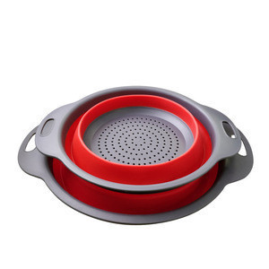 USSE Wholesale BPA Free Eco Kitchen Draining Basket Strainer Collapsible Silicone Colander