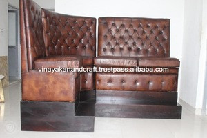 Vintage Industrial Wood Material and Commercial Furniture General Use Restaurant Booth Restaurant and Bar Leather Sofa