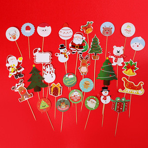 Wholesale christmas cupcake toppers decoration paper cake topper