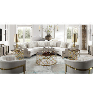 Wholesale factory modern cheap fabric hotel lobby room living room rattan half moon sofa