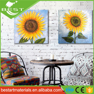 Wholesale High Quality cheap Handpainting Sunflower Modern Wall Art Oil Painting Canvas