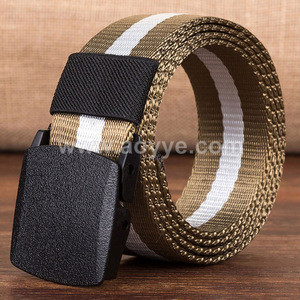 Wholesale simple style black outdoor casual stripe nylon canvas plastic buckle belts for men