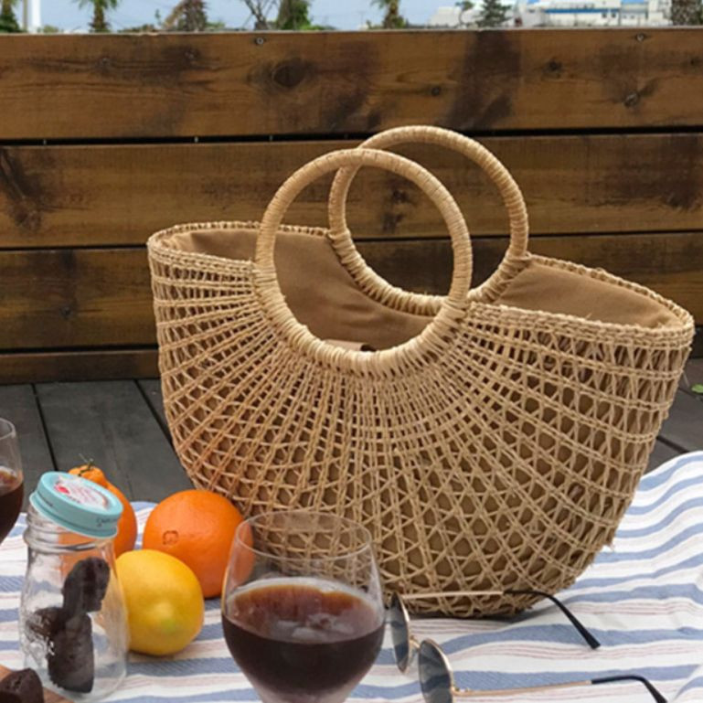 Hot sale straw beach bags
