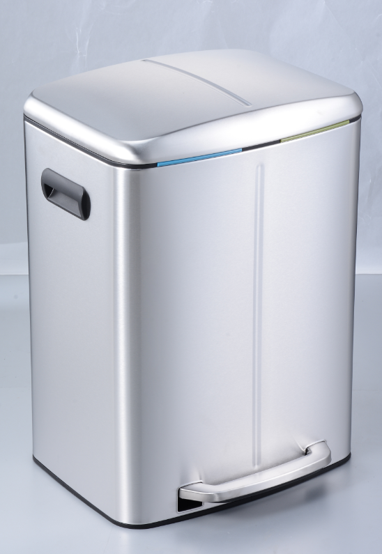 40 Liters Stainless Steel 2 Compartment Soft Closed Pedal Trash Can High Quality Waste Bin