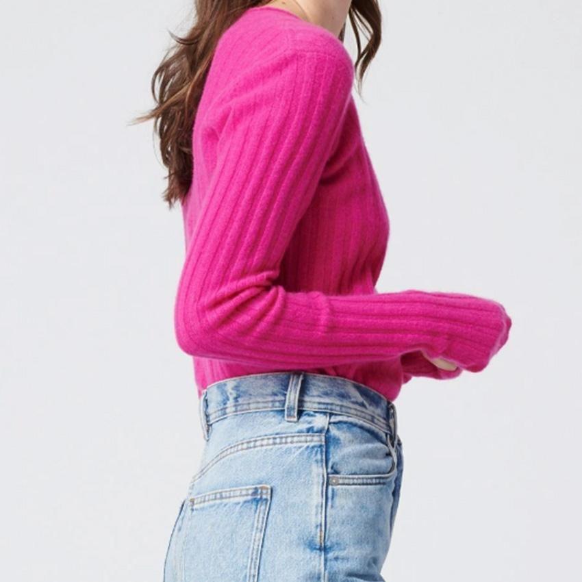 Cashmere Ribbed Sweater Fuchsia