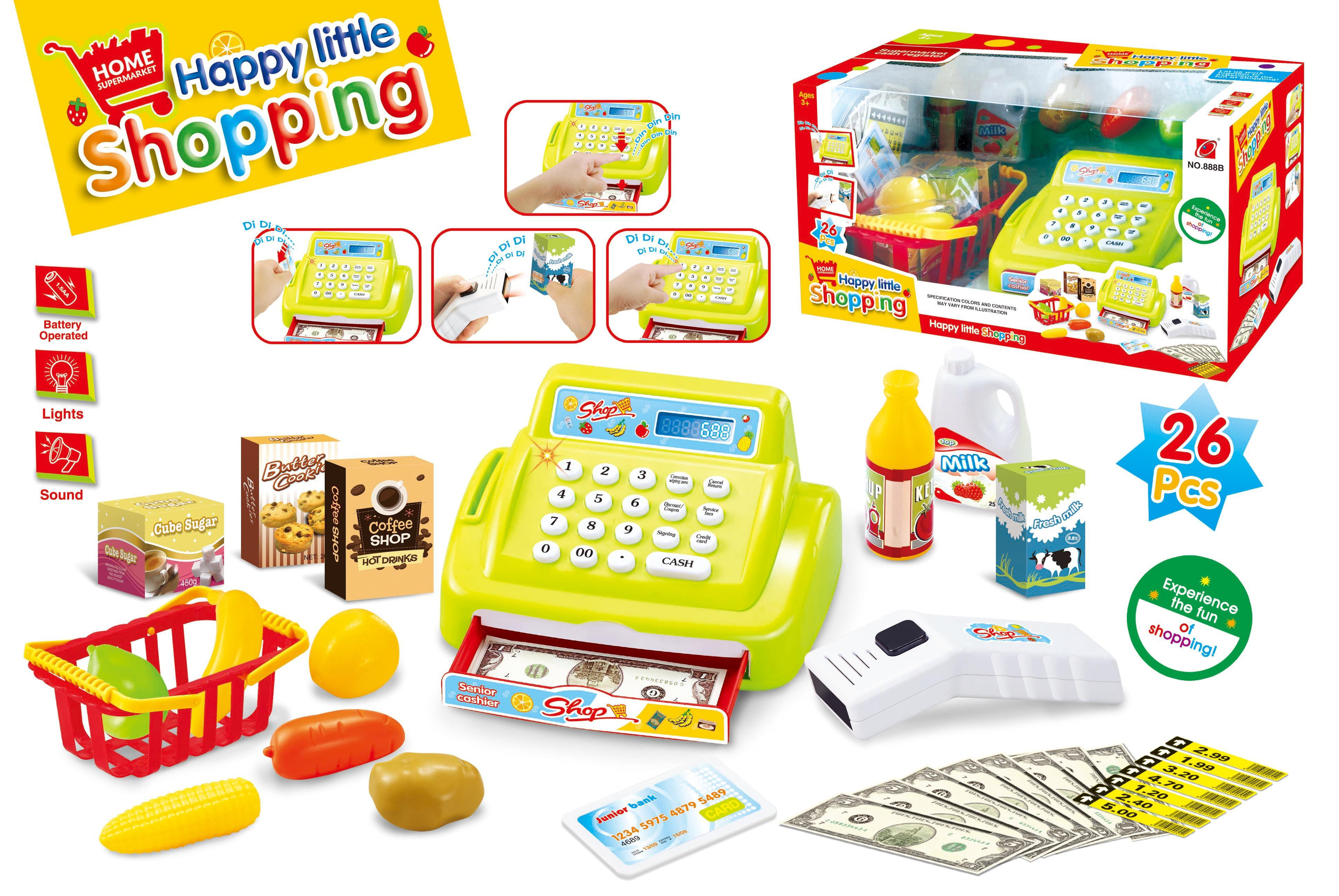 Small cash register with scanner shopping suit, with sound, with lights (not package * 5 aa)