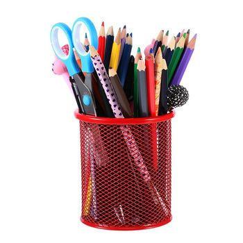 Custom fancy design office school promotion metal mesh pen holder