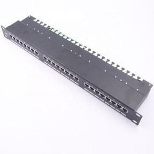 1U 19inch 24 Port Cat6 FTP Metal Shielded Patch Panel
