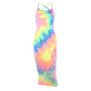 2020 Fashion Slim Pencil Dresses Off Shoulder Cross Backless Rainbow Women Tie Dye Print Club Dress