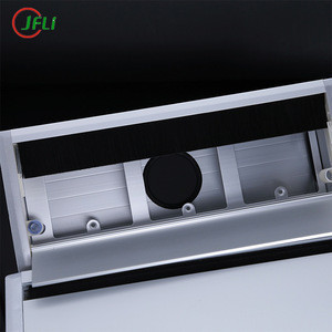 Aluminum alloy office furniture desk 120*300 mm square wire cable grommet table cover box