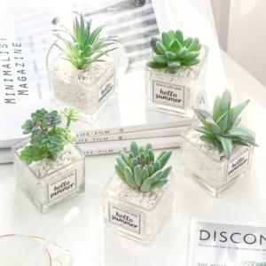 Artificial plant mini potted ornaments Creative stone glass bottle green plant desktop decorative potted plants