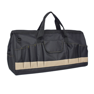 Custom Heavy Duty Wide Mouth Zipper Tool Bag Tote Organizer Bag for Electrician and Carpenter 32 Pockets Large Capacity