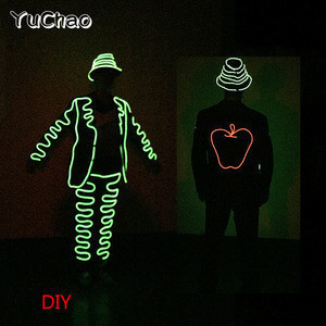 DIY EL wire clothes Light up LED strip costume for party celebration Cosplay led light costume for stage DJ disco dancing