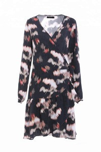 Fashion Women V-neck Overlap Abstract Digital Rayon Print with Lotus Leaf Hem Knee Length Rayon Warp Dress ,Ladies Dress