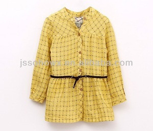 Girls plaid blouse, 2014 new design girls blouse, latest girls blouse designs