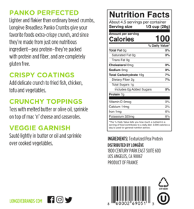 Longeve Plant-based Breadless Crumbs - Panko added protein healthy crunchy grain free