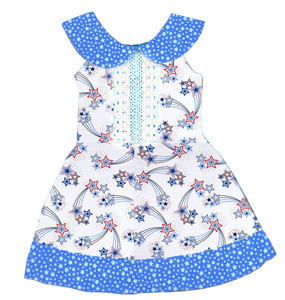 New design sky blue star print O- neck sleeveless baby girls pure & fresh style dress childrens boutique clothing kids dresses