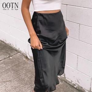 OOTN Black Midi Skirt Party SkirtSummer Autumn Glossy Satin Trumpet High Waist Skirt